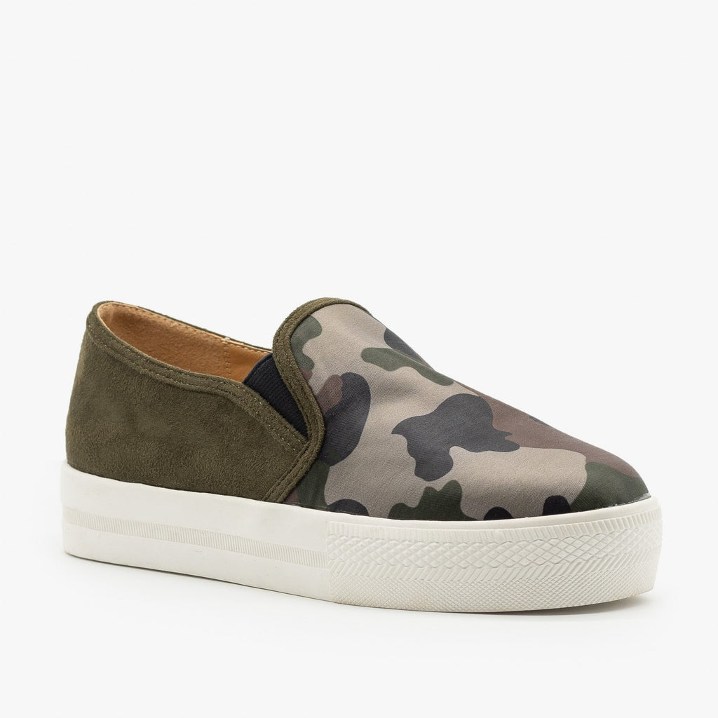 Womens Camo Slip On Sneakers - Shoetopia - Camo / 5