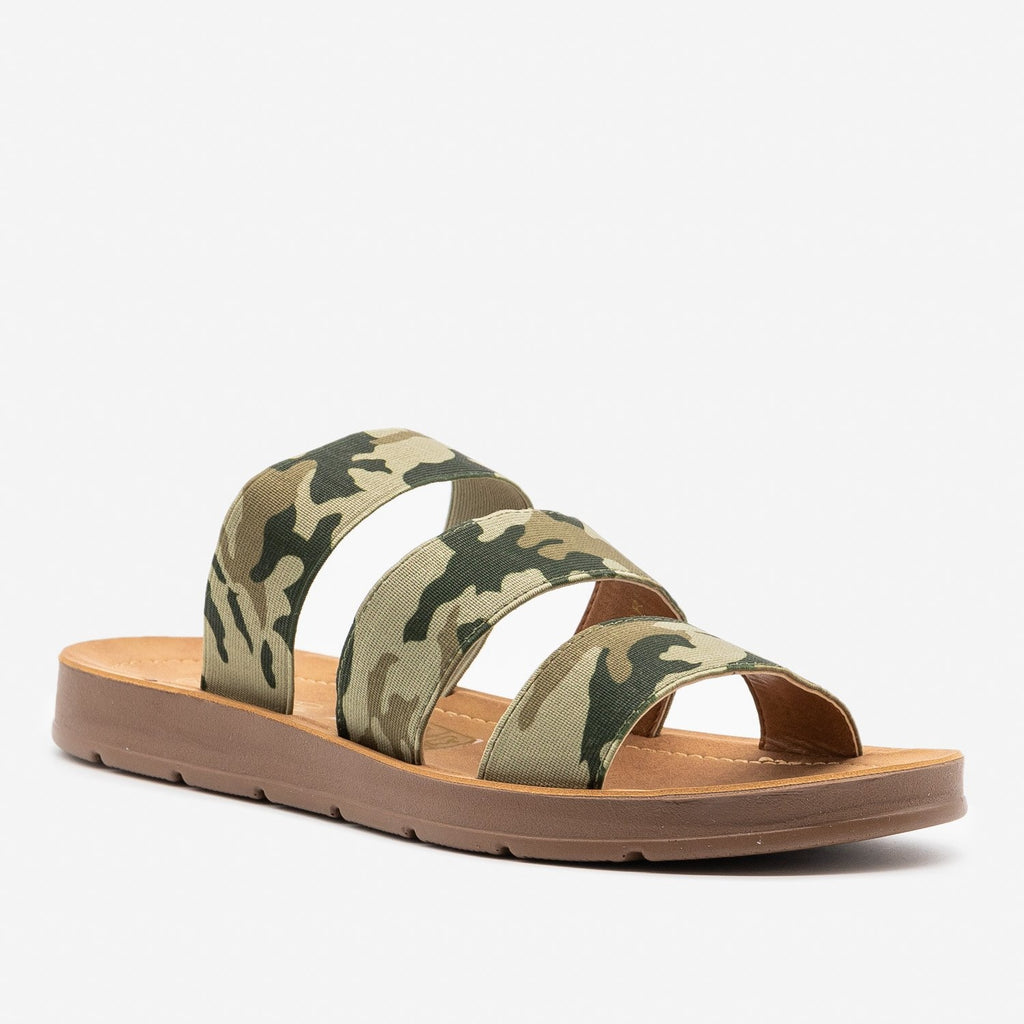 Women's Camo Triple Elastic Strap Sandals - Mata