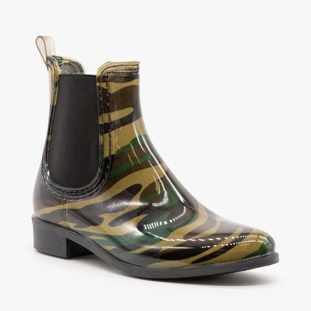 Womens Camouflage Chelsea Rain Booties - Forever