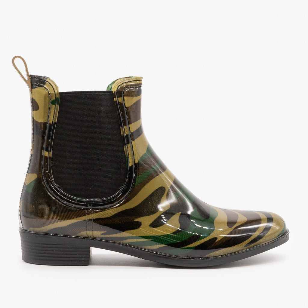 Womens Camouflage Chelsea Rain Booties - Forever - Camouflage / 5
