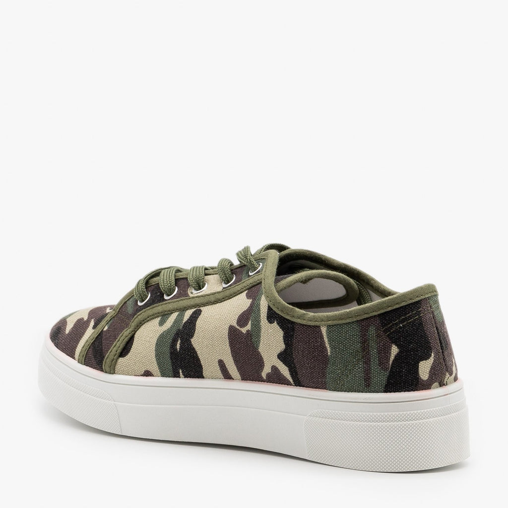 Womens Camouflage Platform Fashion Sneakers - La Sheelah Shoes