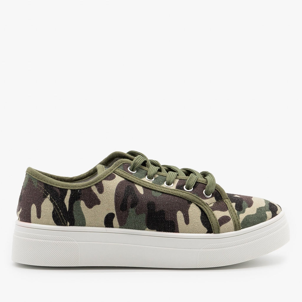 Womens Camouflage Platform Fashion Sneakers - La Sheelah Shoes - Camouflage / 5