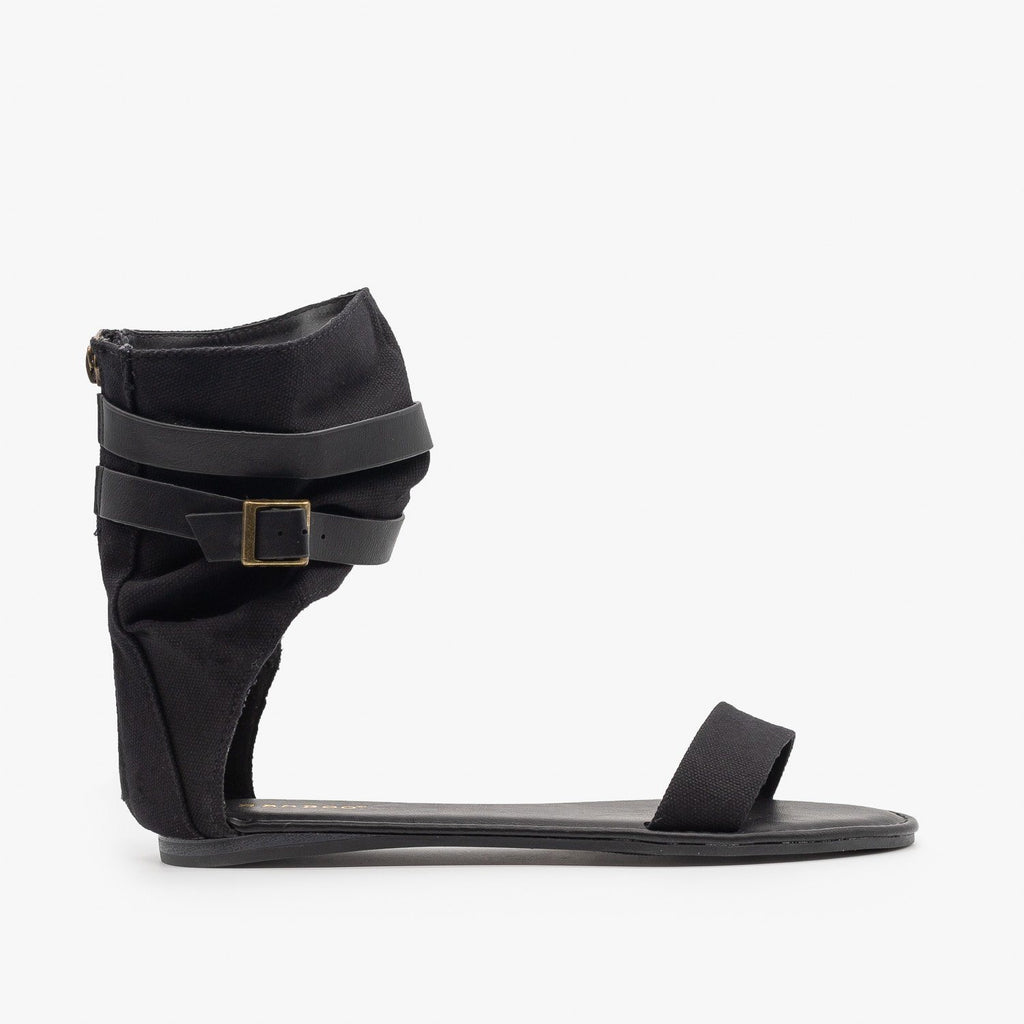 Womens Canvas Ankle Band Buckle Gladiator Sandals - Bamboo Shoes - Black / 5
