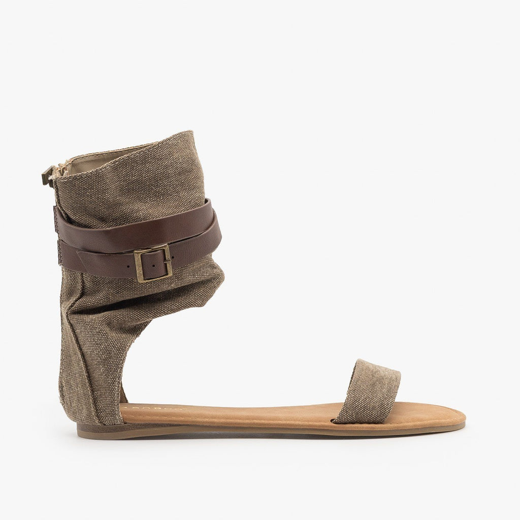 Womens Canvas Ankle Band Buckle Gladiator Sandals - Bamboo Shoes - Taupe / 5