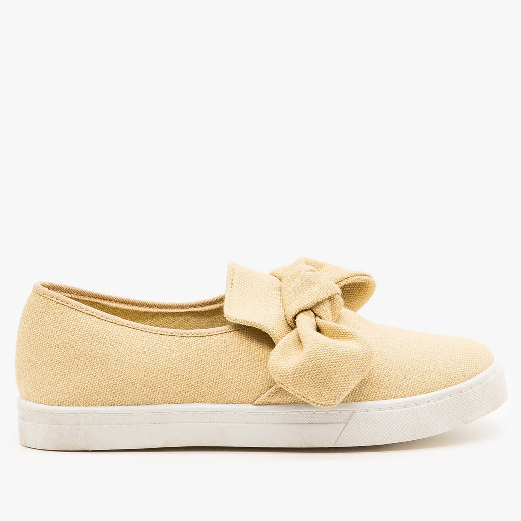 Womens Canvas Bow Fashion Sneakers - AMS Shoes - Beige / 5