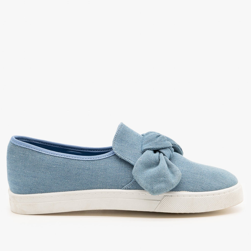Womens Canvas Bow Fashion Sneakers - AMS Shoes - Denim / 5