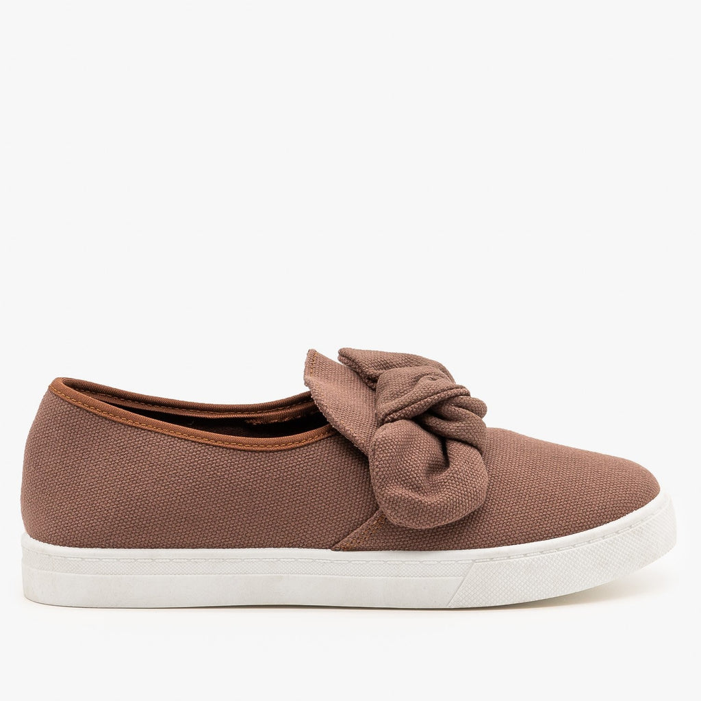 Womens Canvas Bow Fashion Sneakers - AMS Shoes - Brown / 5