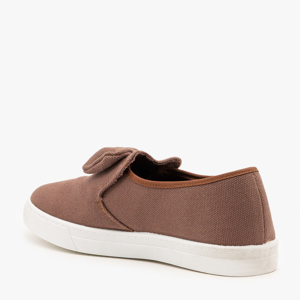 Womens Canvas Bow Fashion Sneakers - AMS Shoes