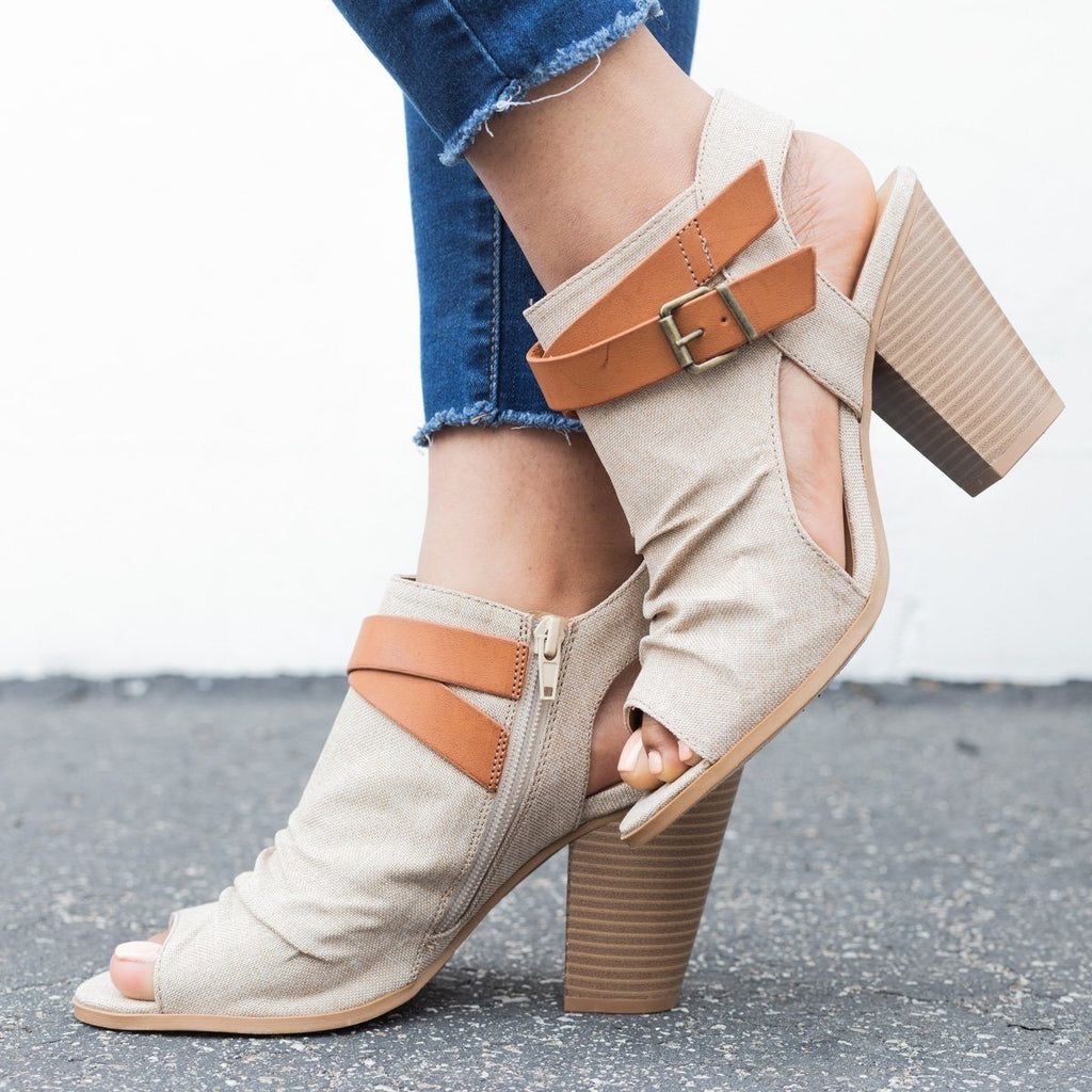 Womens Canvas Chunky Heel Booties - Soda Shoes