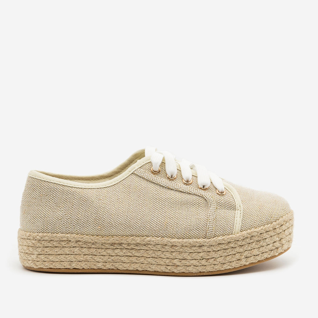 Women's Canvas Espadrille Platform Sneakers - Bamboo Shoes - Beige / 5