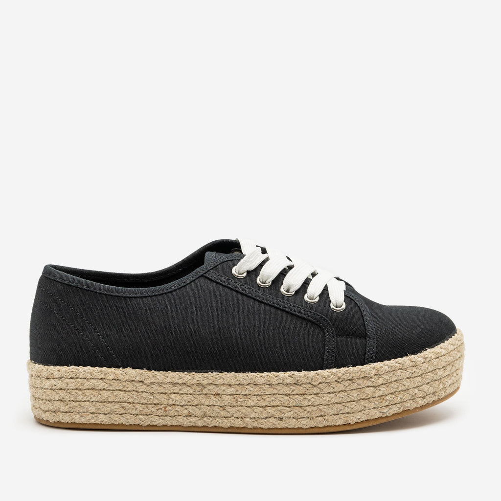 Women's Canvas Espadrille Platform Sneakers - Bamboo Shoes - Black / 5