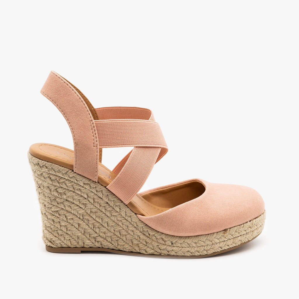 Womens Canvas Espadrille Sandal Wedges - City Classified Shoes - Dark Mauve / 5