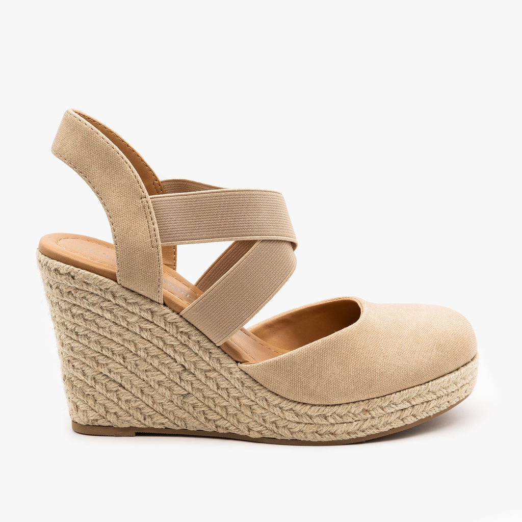 Womens Canvas Espadrille Sandal Wedges - City Classified Shoes - Dark Beige / 5