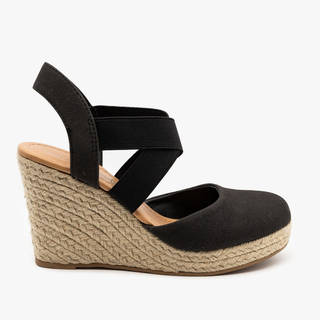 Womens Canvas Espadrille Sandal Wedges - City Classified Shoes - Black / 5