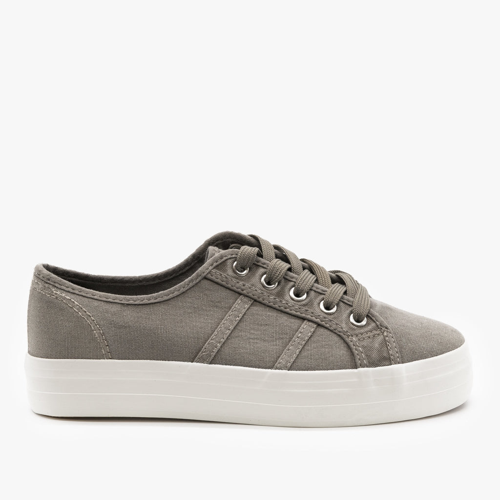 Womens Canvas Lace-Up Fashion Sneakers - Nature Breeze - Gray / 5