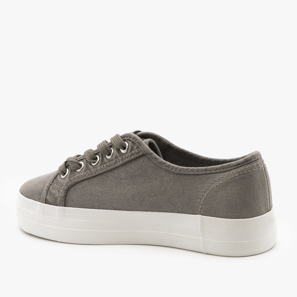 Womens Canvas Lace-Up Fashion Sneakers - Nature Breeze
