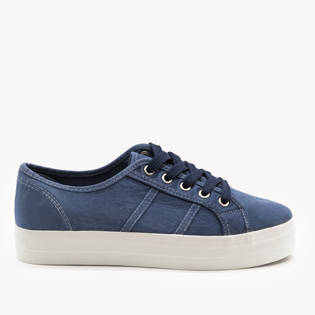 Womens Canvas Lace-Up Fashion Sneakers - Nature Breeze - Blue / 5