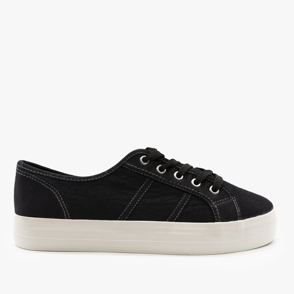 Womens Canvas Lace-Up Fashion Sneakers - Nature Breeze - Black / 5