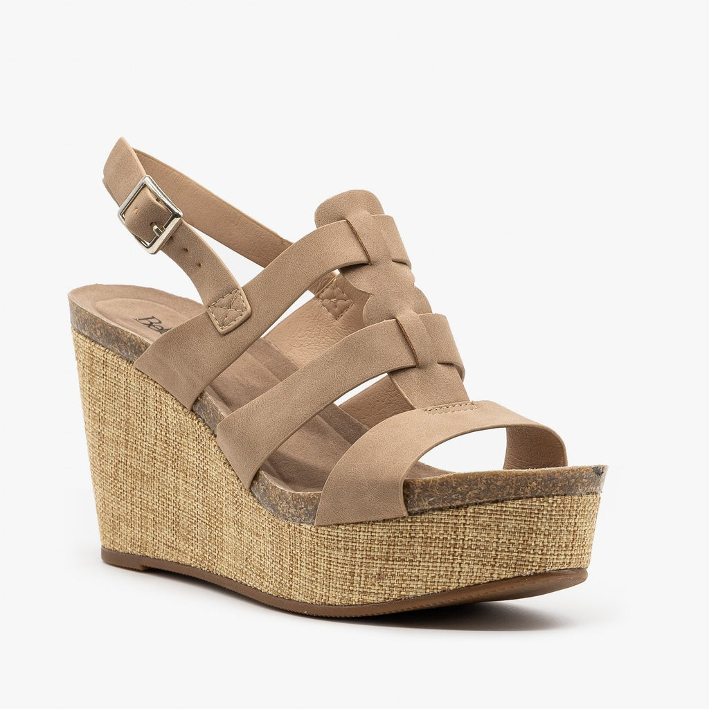 Womens Canvas Platform Sandal Wedges - Bella Marie - Taupe / 5