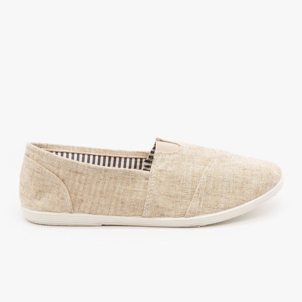 Womens Canvas Slip-On Flats - Forever - Beige / 5