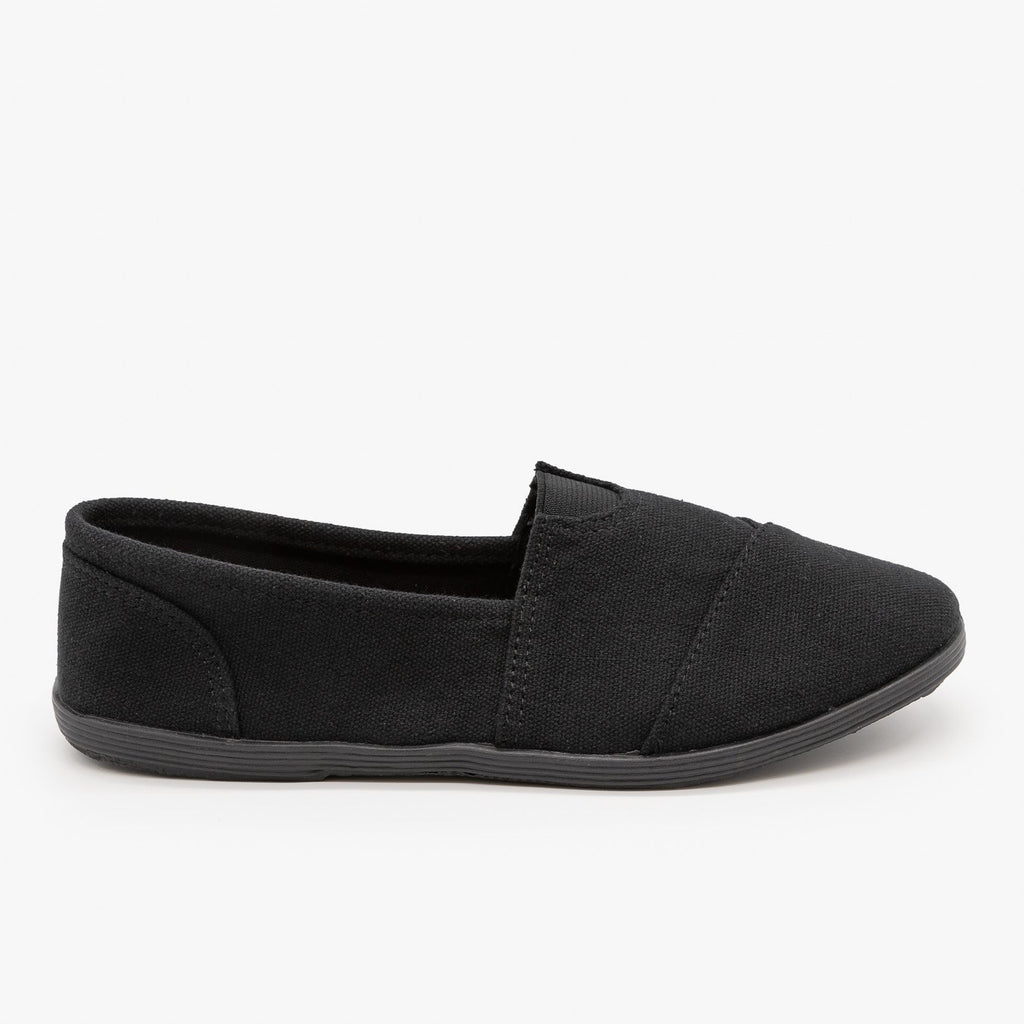 Womens Canvas Slip-On Flats - Forever - Black Black / 5