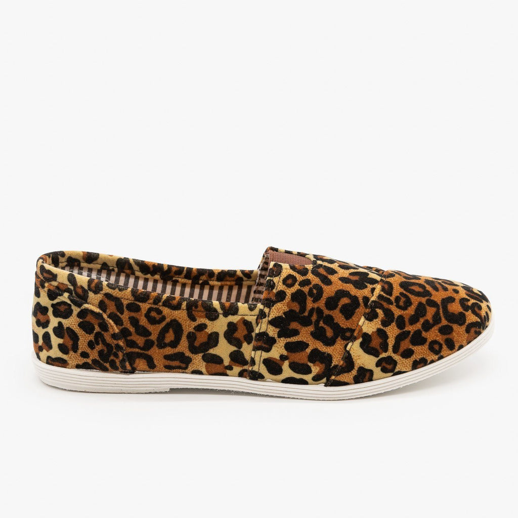 Womens Canvas Slip-On Flats - Forever - Leopard / 5