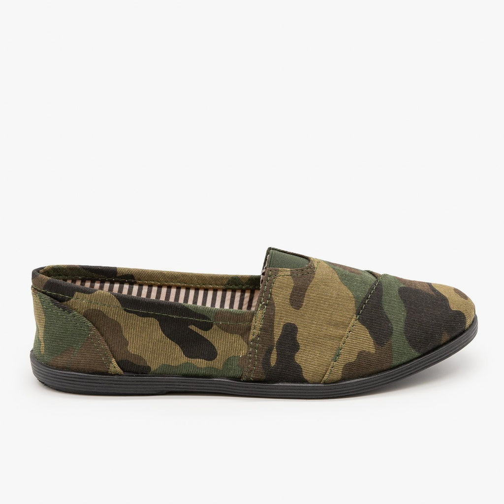 Womens Canvas Slip-On Flats - Forever - Camouflage / 5