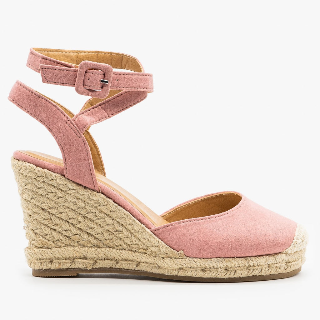 Womens Cap Toe Espadrille Wedges - Bamboo Shoes - Blush / 5