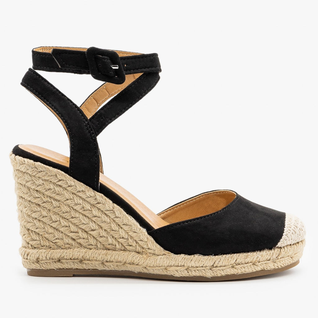 Womens Cap Toe Espadrille Wedges - Bamboo Shoes - Black / 5