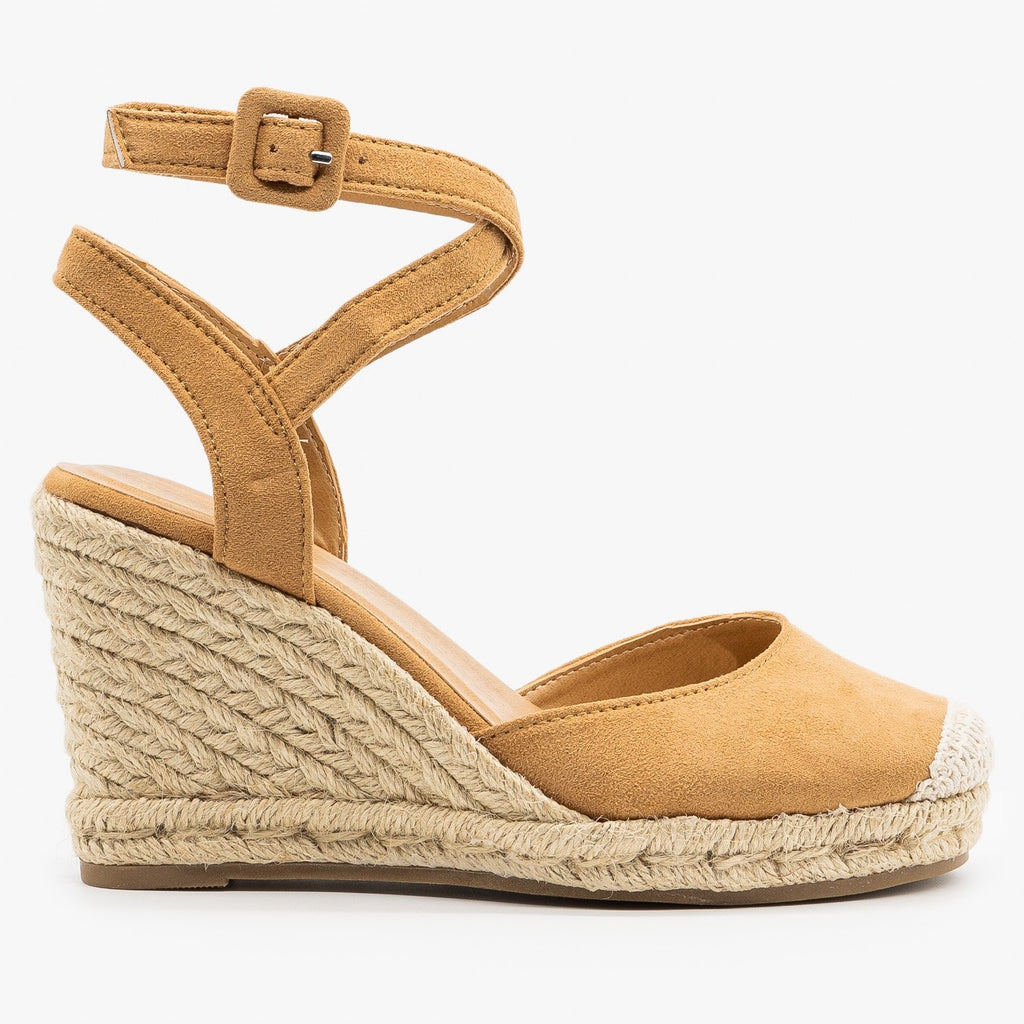 Womens Cap Toe Espadrille Wedges - Bamboo Shoes - Tan / 5