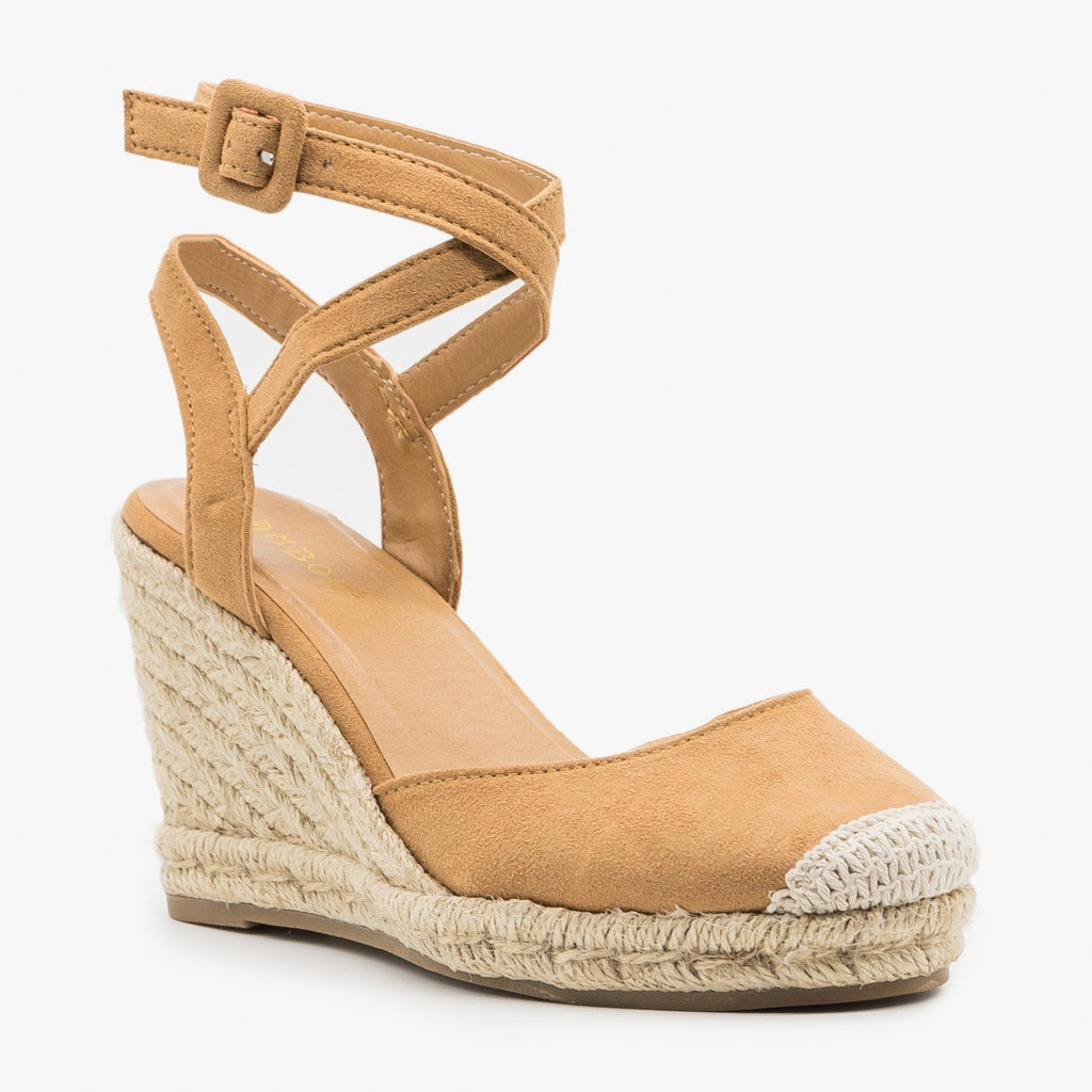Women's Cap Toe Espadrille Wedges - Bamboo Shoes