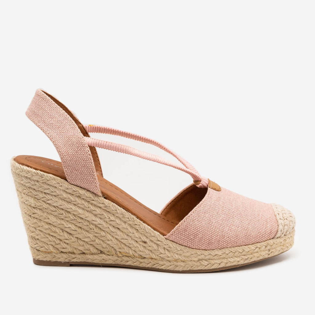 Women's Cap Toe Espadrille Wedges - City Classified Shoes - Light Pink / 5