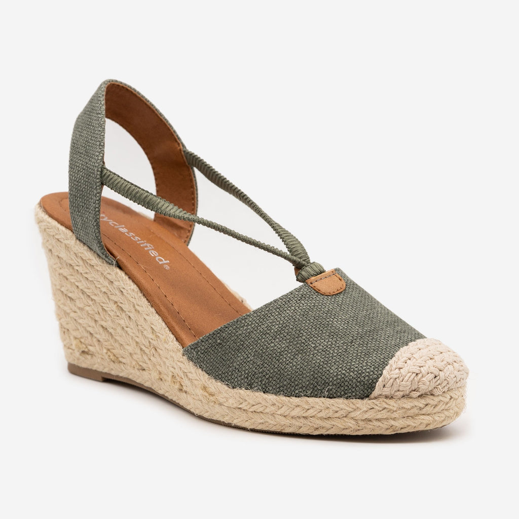 Women's Cap Toe Espadrille Wedges - City Classified Shoes
