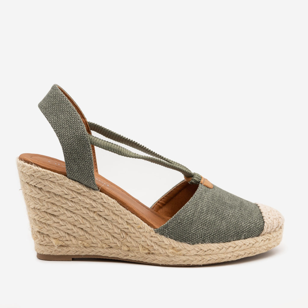 Women's Cap Toe Espadrille Wedges - City Classified Shoes - Khaki / 5