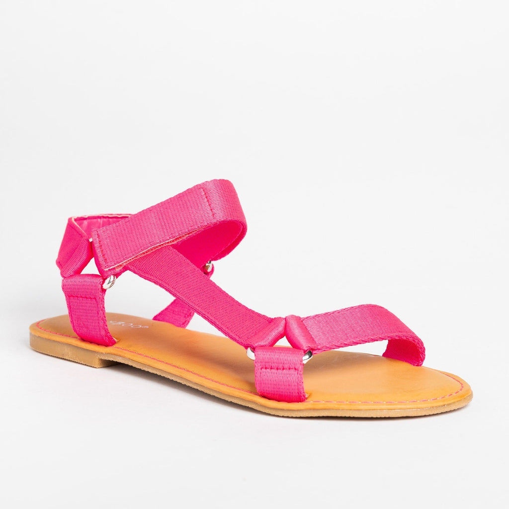 Womens Casual Comfy Velcro Sandals - Bamboo Shoes - Neon Pink / 5