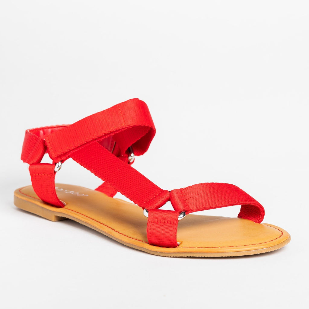 Womens Casual Comfy Velcro Sandals - Bamboo Shoes - Red / 5