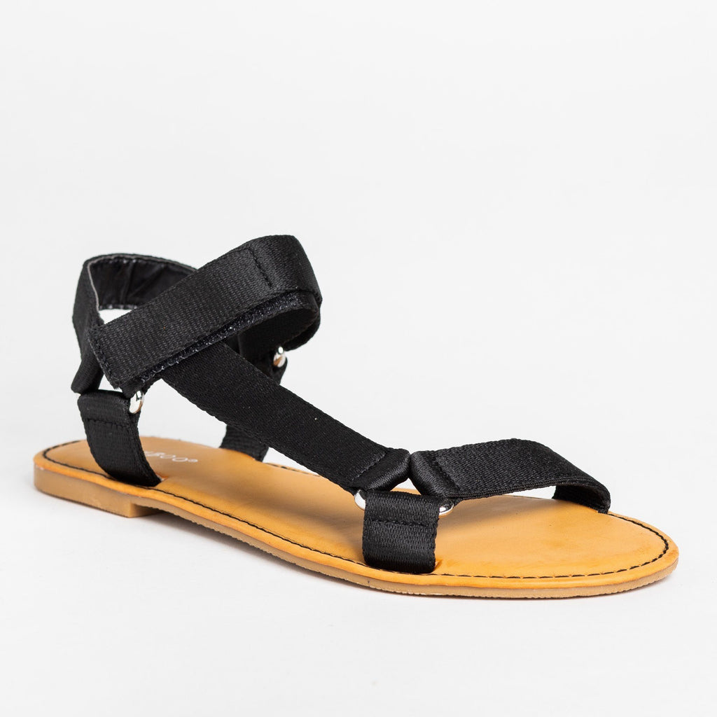 Womens Casual Comfy Velcro Sandals - Bamboo Shoes - Black / 5