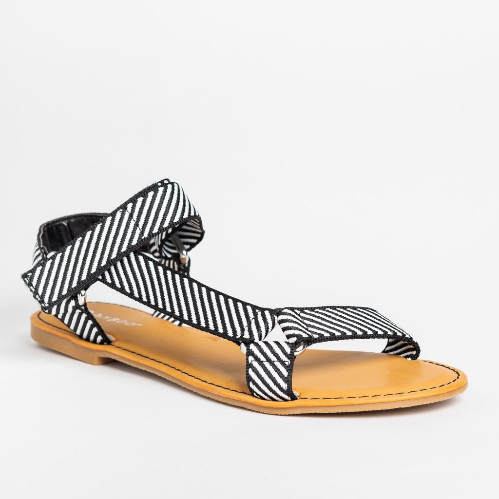 Womens Casual Comfy Velcro Sandals - Bamboo Shoes - Black White / 5