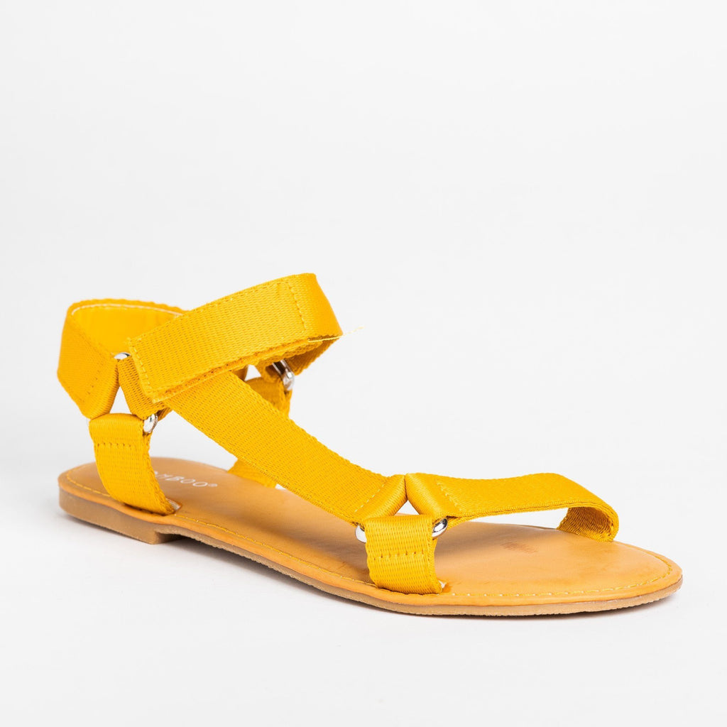 Womens Casual Comfy Velcro Sandals - Bamboo Shoes - Marigold / 5