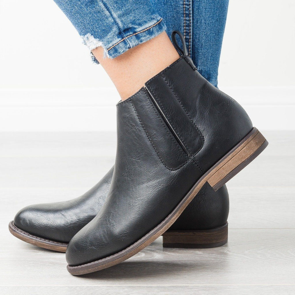 Womens Casual Side Slit Booties - Mata