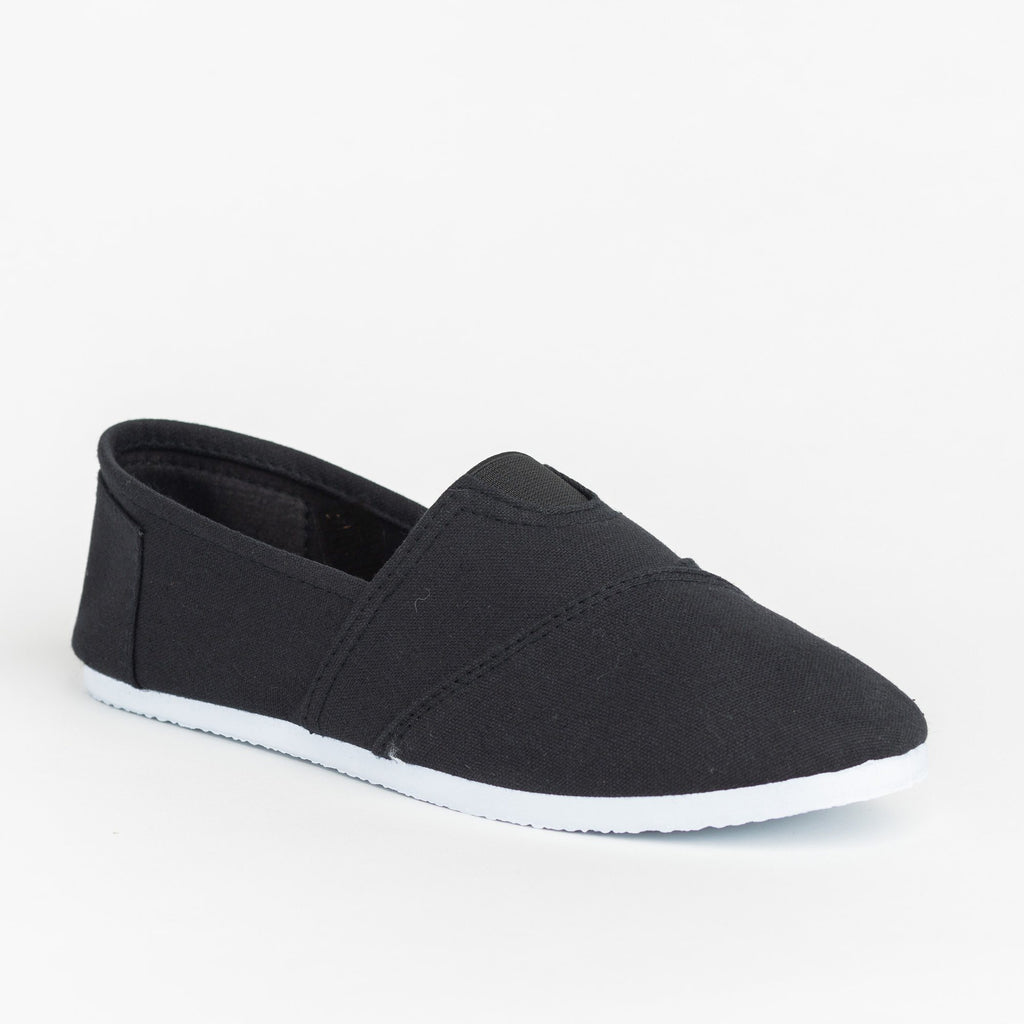 Womens Casual Slip-On Flats - Delicious Shoes - Black / 5