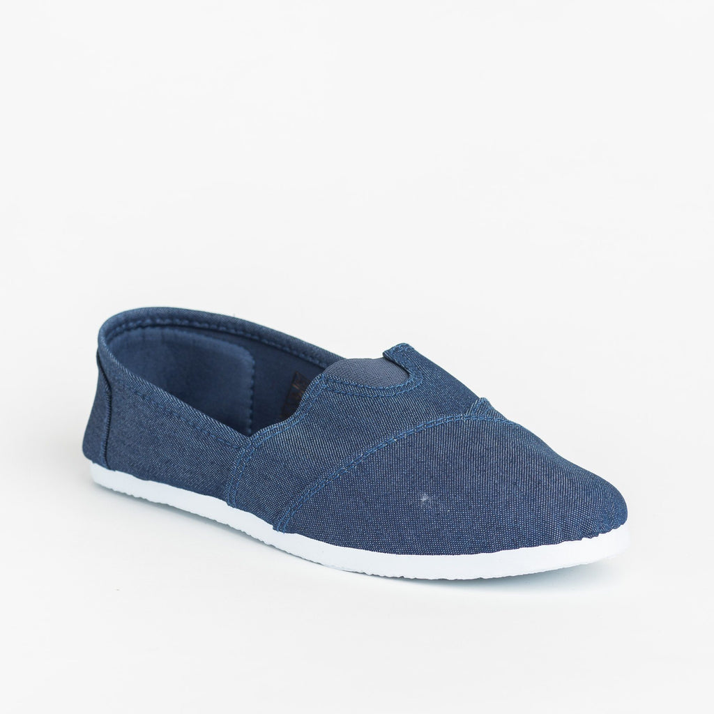Womens Casual Slip-On Flats - Delicious Shoes - Denim / 5