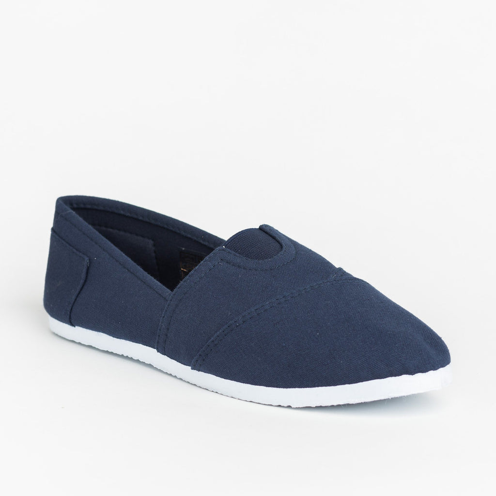 Womens Casual Slip-On Flats - Delicious Shoes - Navy / 5