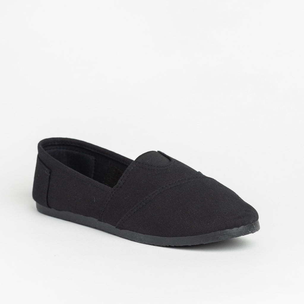 Womens Casual Slip-On Flats - Delicious Shoes - Black Black / 5