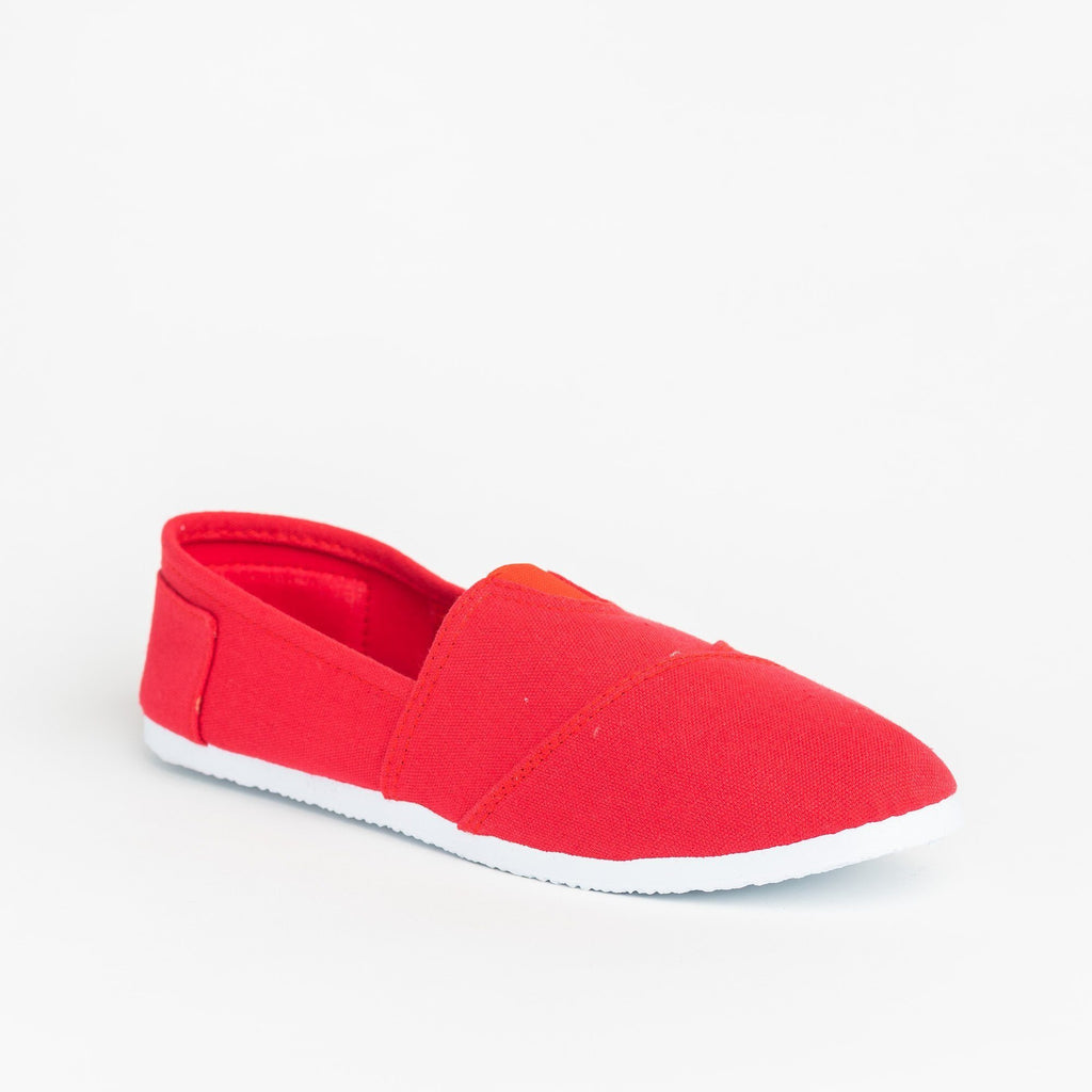 Womens Casual Slip-On Flats - Delicious Shoes - Red / 5