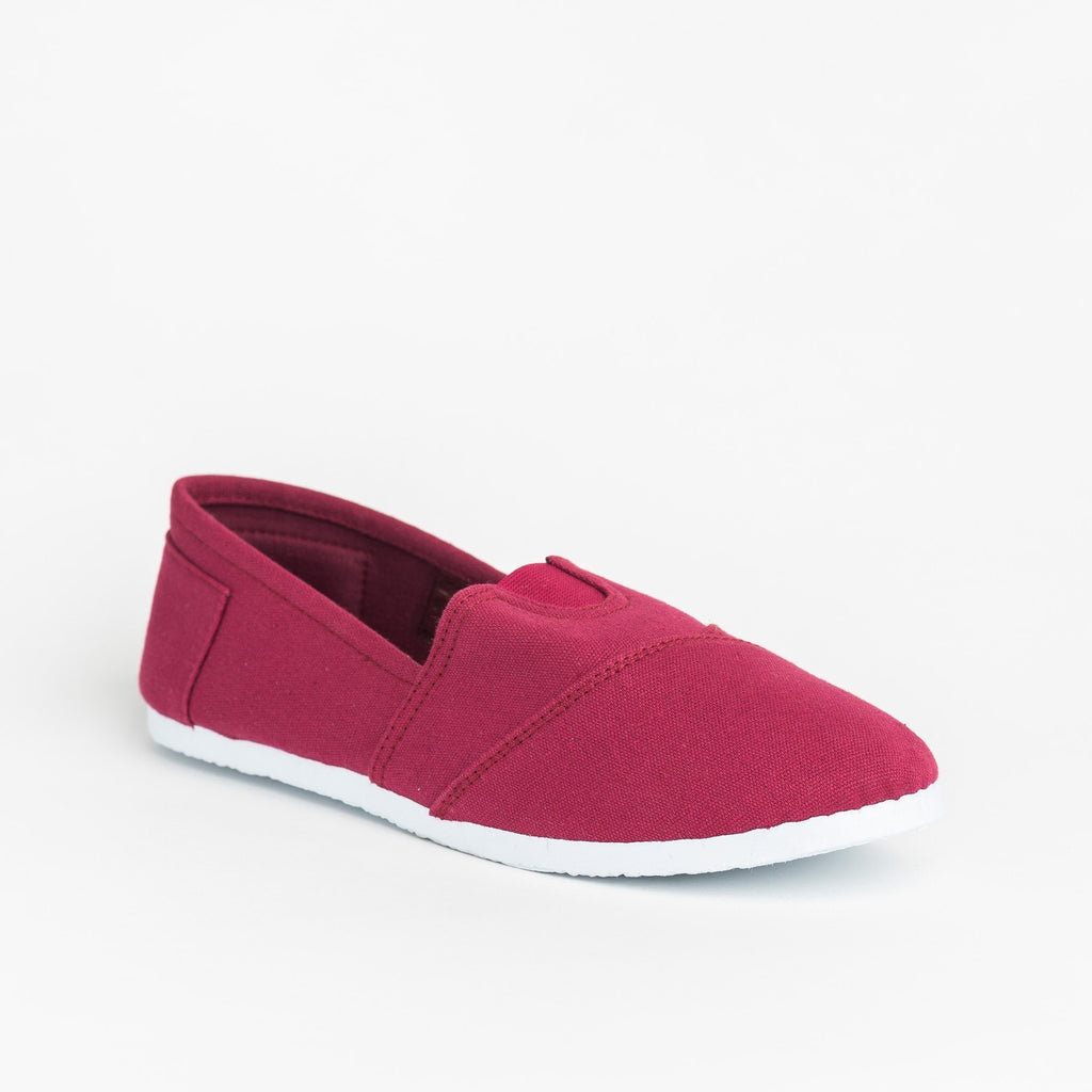 Womens Casual Slip-On Flats - Delicious Shoes - Burgundy / 5