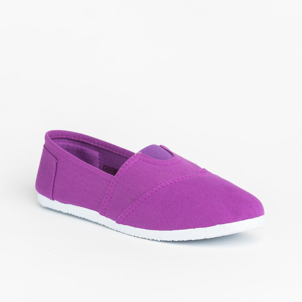 Womens Casual Slip-On Flats - Delicious Shoes - Purple / 5