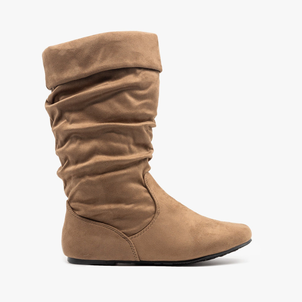 Womens Casual Slouchy Boots - Forever - Taupe / 5