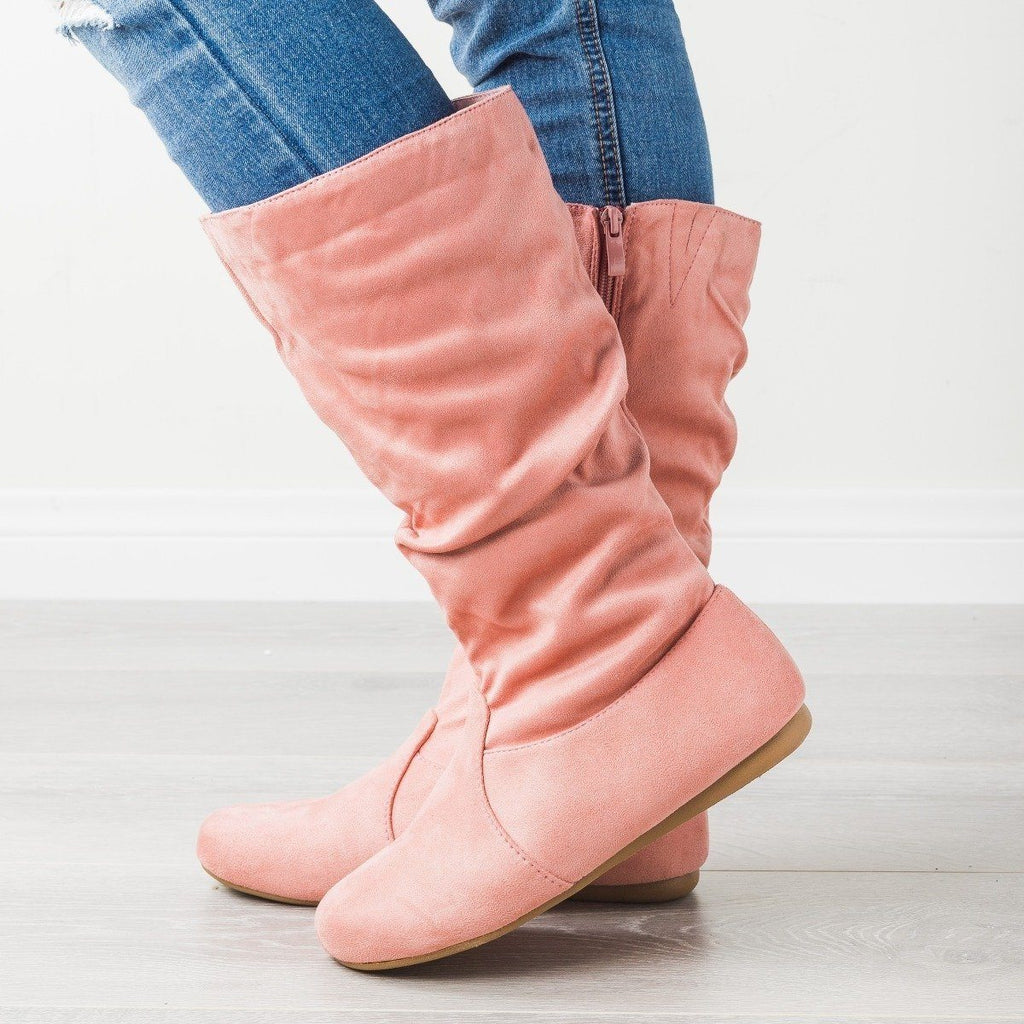 Womens Casual Slouchy Boots - Forever - Dusty Pink / 5