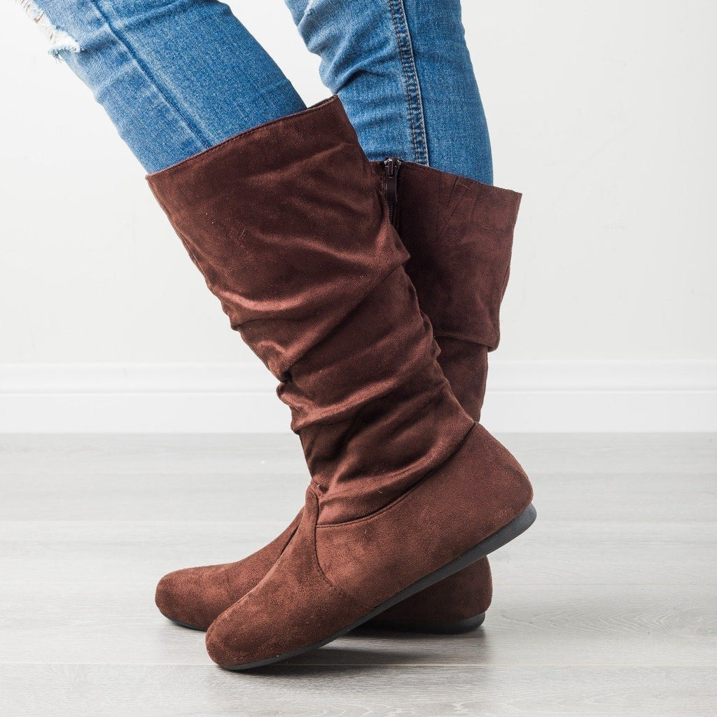Womens Casual Slouchy Boots - Forever - Brown / 5